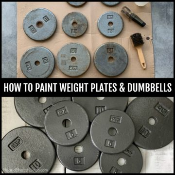 before and after picture of old rusty weight plates (before) and newly painted plates (after)