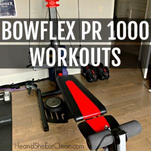 Bowflex PR 1000 Home Gym, red and black workout machine on wooden floors with text reads Bowflex PR 1000 workouts