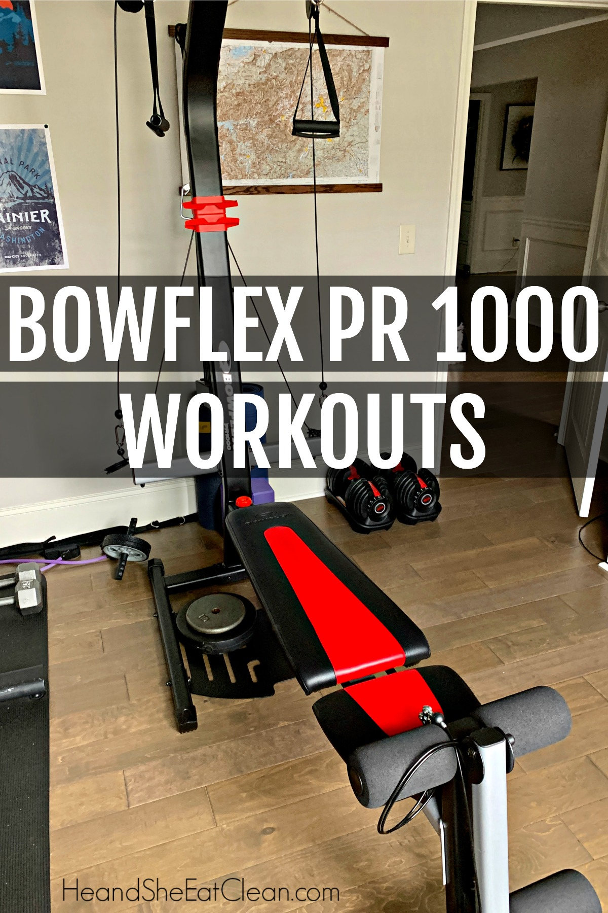 Bowflex PR 1000 Home Gym, red and black workout machine on wooden floors