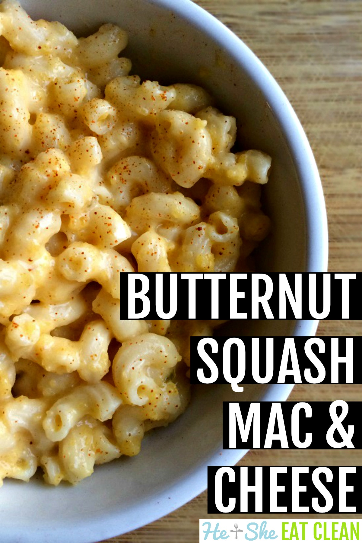 white bowl full of elbow pasta with butternut squash mac & cheese