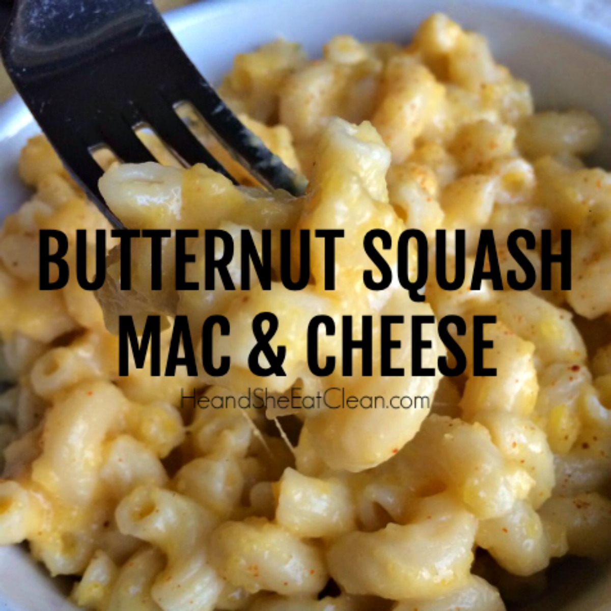 white bowl with fork full of elbow pasta with butternut squash mac & cheese