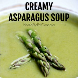 asparagus soup topped with 3 asparagus spears