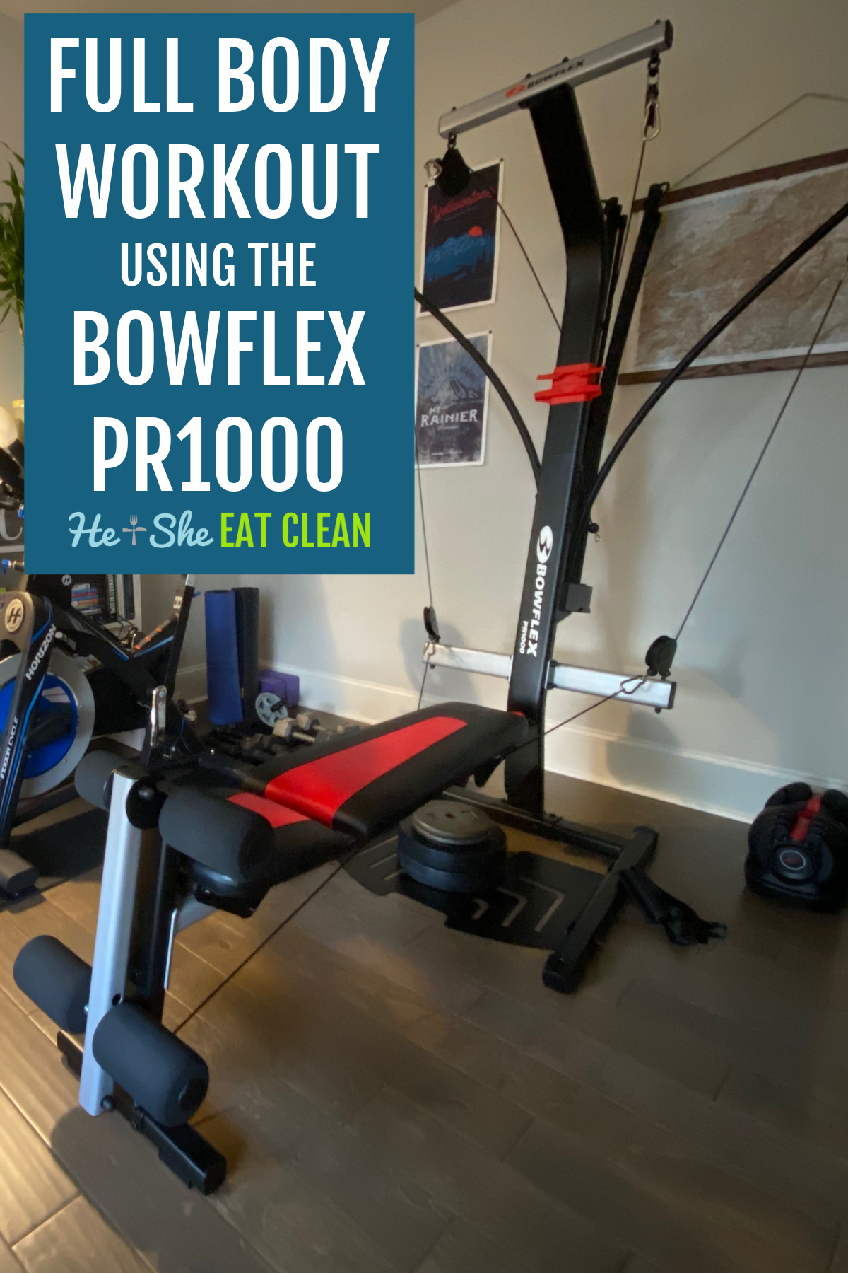Bowflex PR1000 workout equipment with a bike on the side and weights on the floor