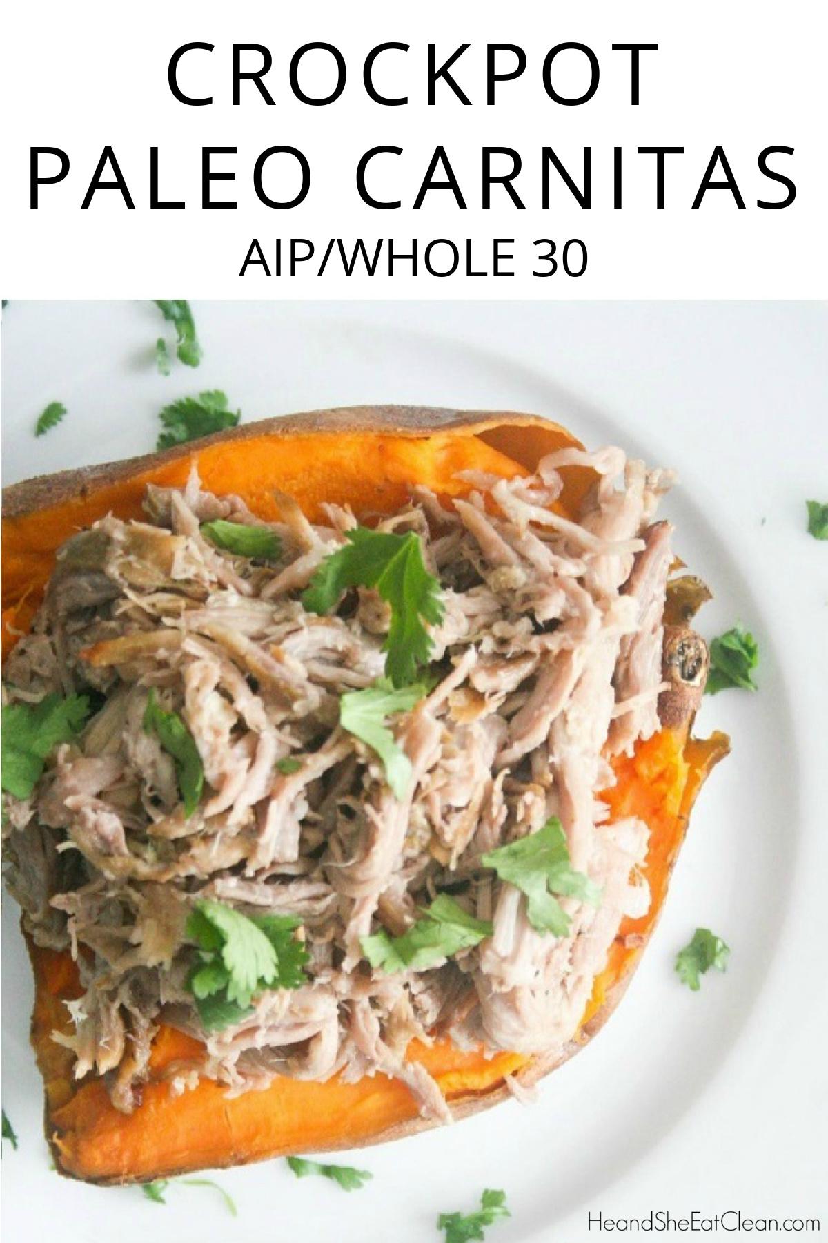 paleo carnitas on a sweet potato on a white plate