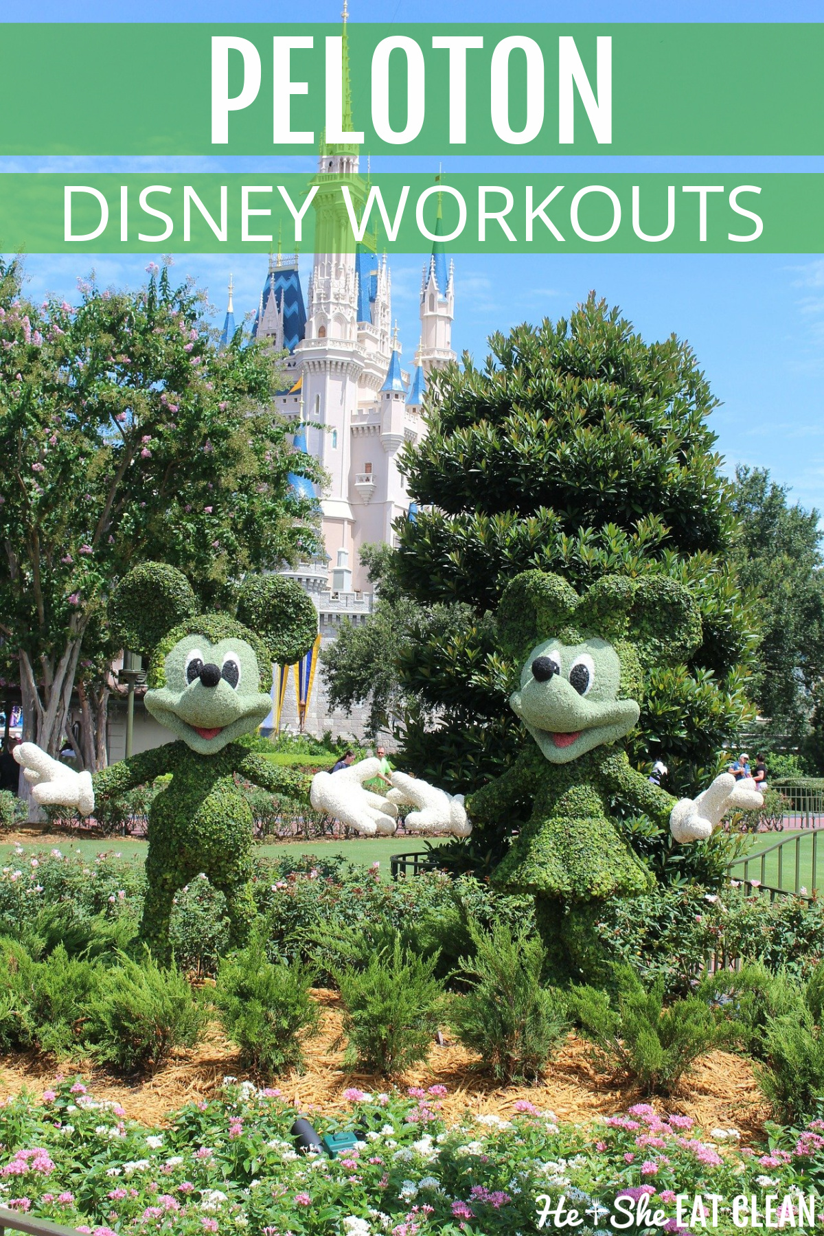 Disney Castle with Hedges cut out to look like Minnie and Mickey in front of the castle. Text reads Peloton Disney Workouts