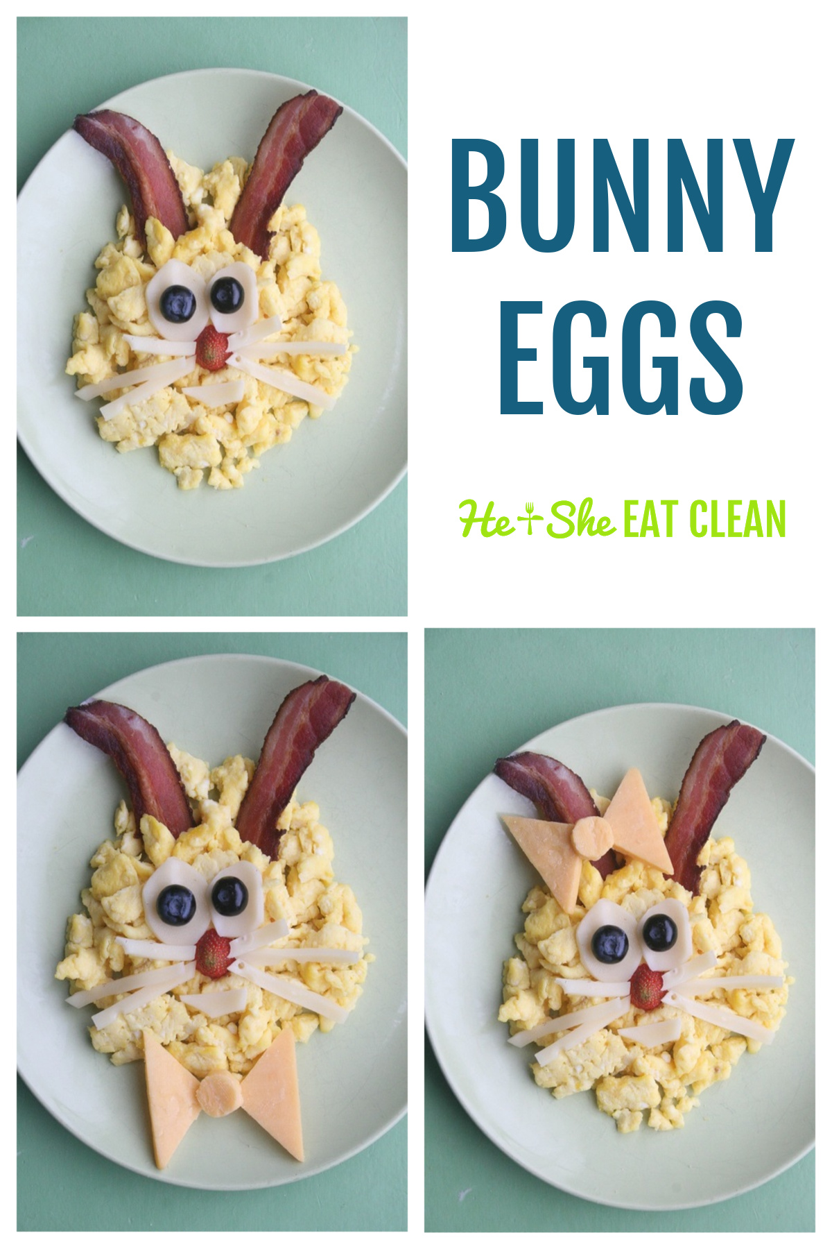 collage of Bunny Eggs - eggs arranged to look like a Easter Bunny on a white plate