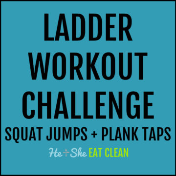text reads ladder workout challenge: squat jumps + plank taps