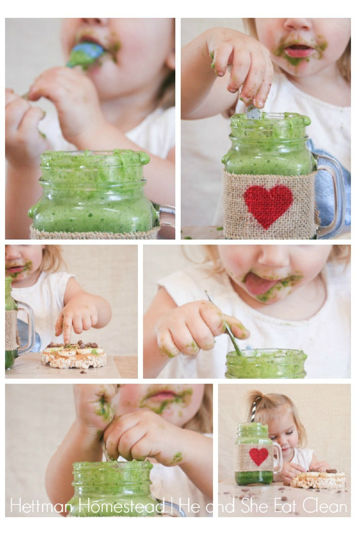 collage of a toddler girl drinking and eating a green smoothie