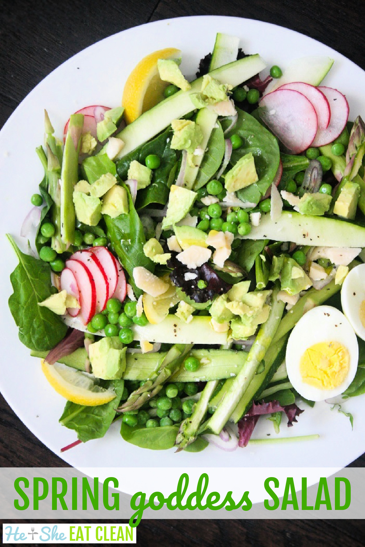 large salad topped with egg and asparagus. text reads spring goddess salad