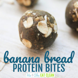 banana bread protein bites with oats on a wooden table
