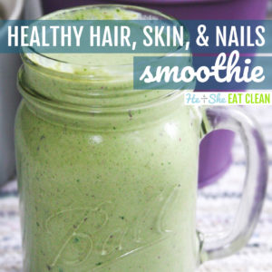front view of mason jar containing green smoothie