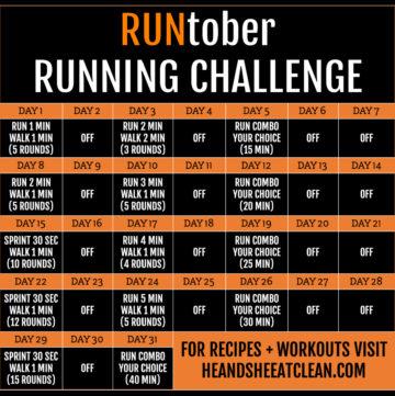 fitness challenge calendar titled RUNtober