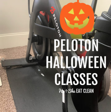 Peloton bike on a black yoga mat with text that reads Peloton Halloween Classes with a pumpkin overlay